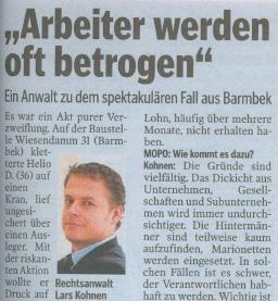 """""""Arbeiter werden oft betrogen"""" in Hamburger Morgenpost"""