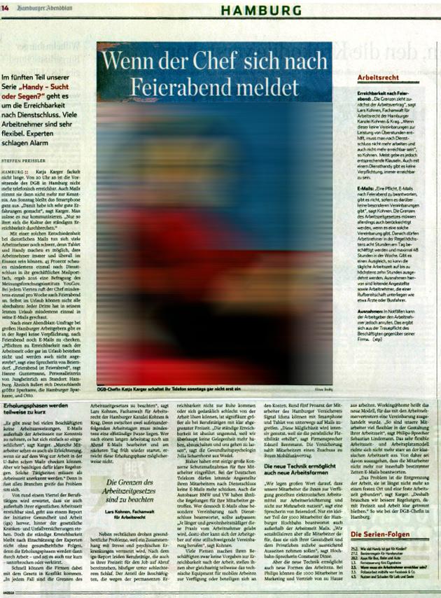 Wenn der Chef sich nach Feierabend meldet - Interview im Hamburger Abendblatt
