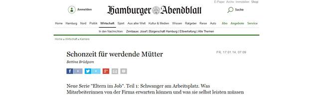 Schwanger am Arbeitsplatz Interview - Hamburger Abendblatt