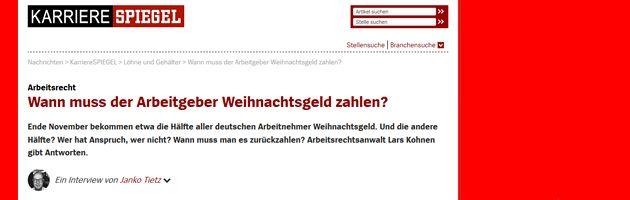 Spiegel Online Interview Weihnachtsgeld von Rechtsanwalt Kohnen